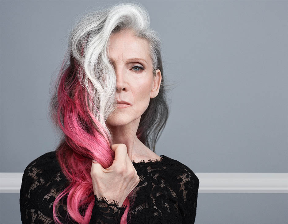 Woman with pink and grey hair