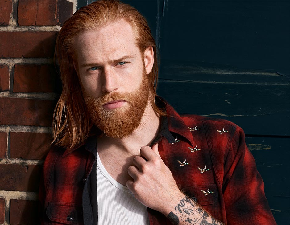 Model Gwilym with full beard